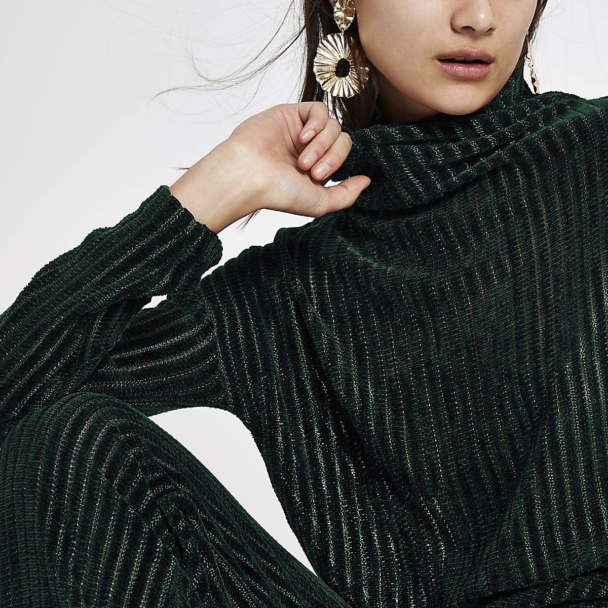 Dark green chenille knit long sleeve top