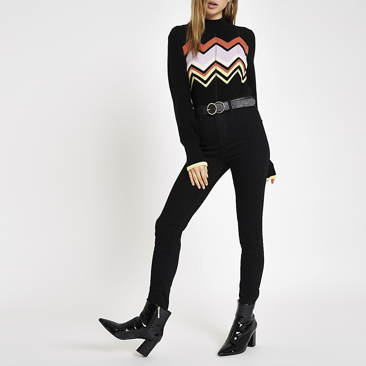 Black knit zig zag high neck jumper