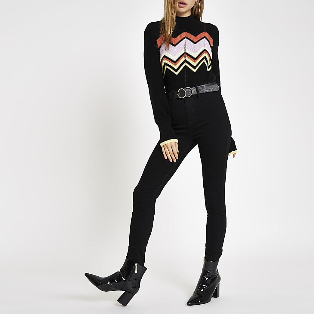Black knit zig zag high neck jumper