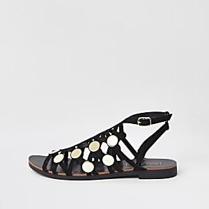 Zwarte sandalen met bandjes en studs