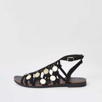 Black caged stud embellished sandals