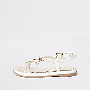 White rope ring sandals