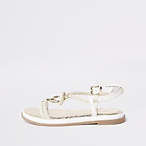 Sandales blanches à cordon et anneau
