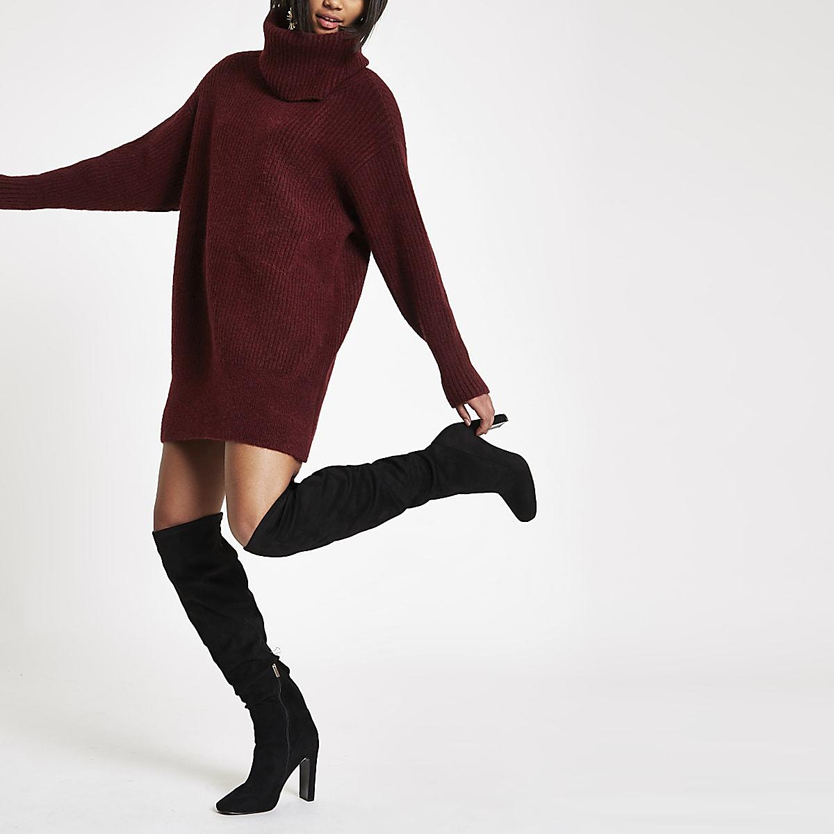 6e7d71e019376d Bordeauxrode gebreide trui-jurk met col - Pullovers - Knitwear - Dames