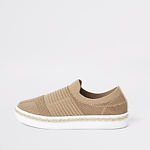 Beige knitted runner espadrille sneakers