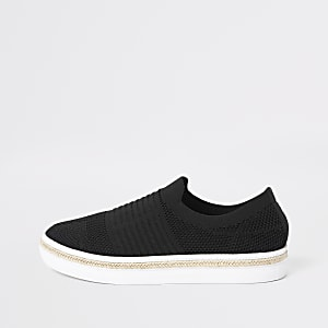Black knitted runner espadrille trainers