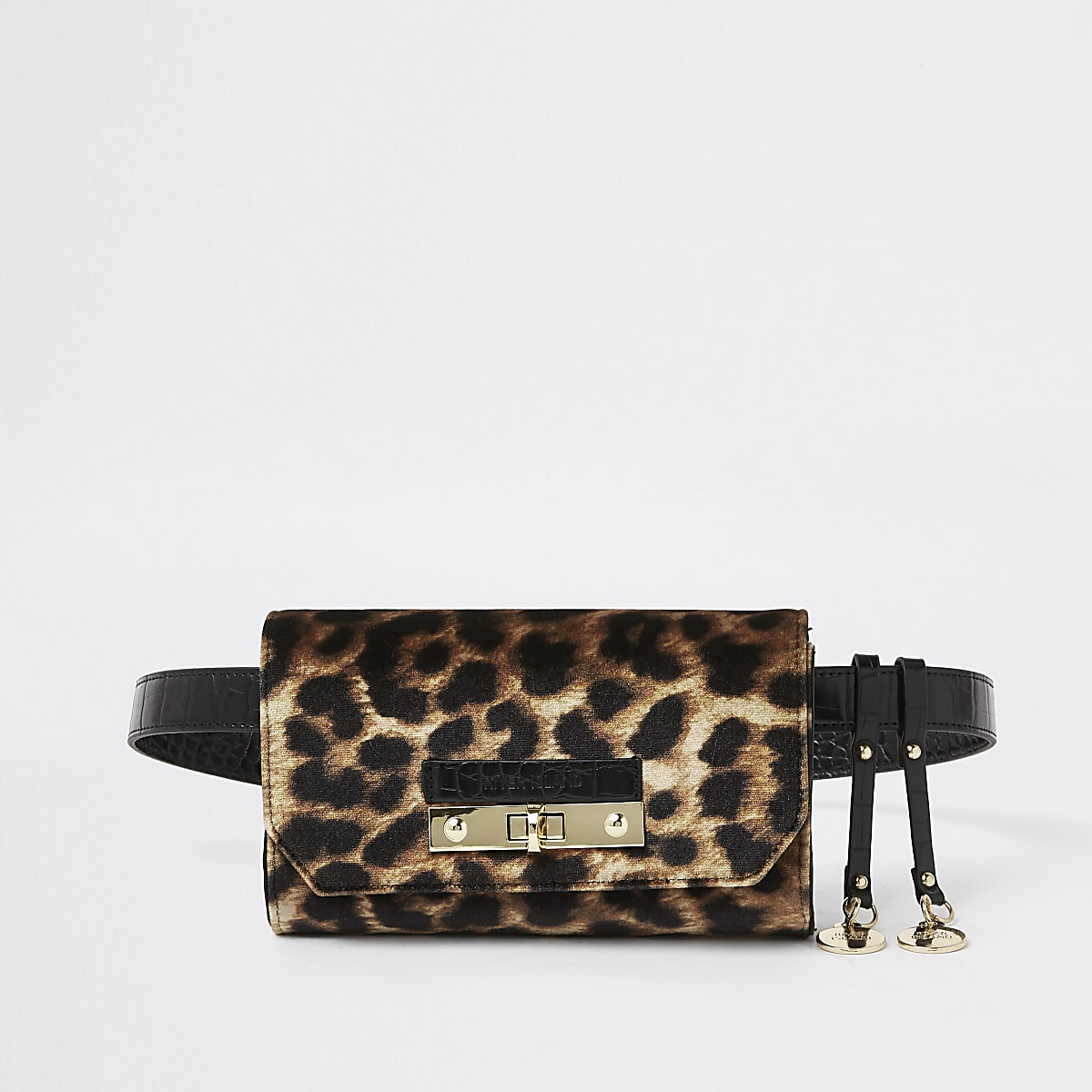 Brown leopard print lock front belted bum bag