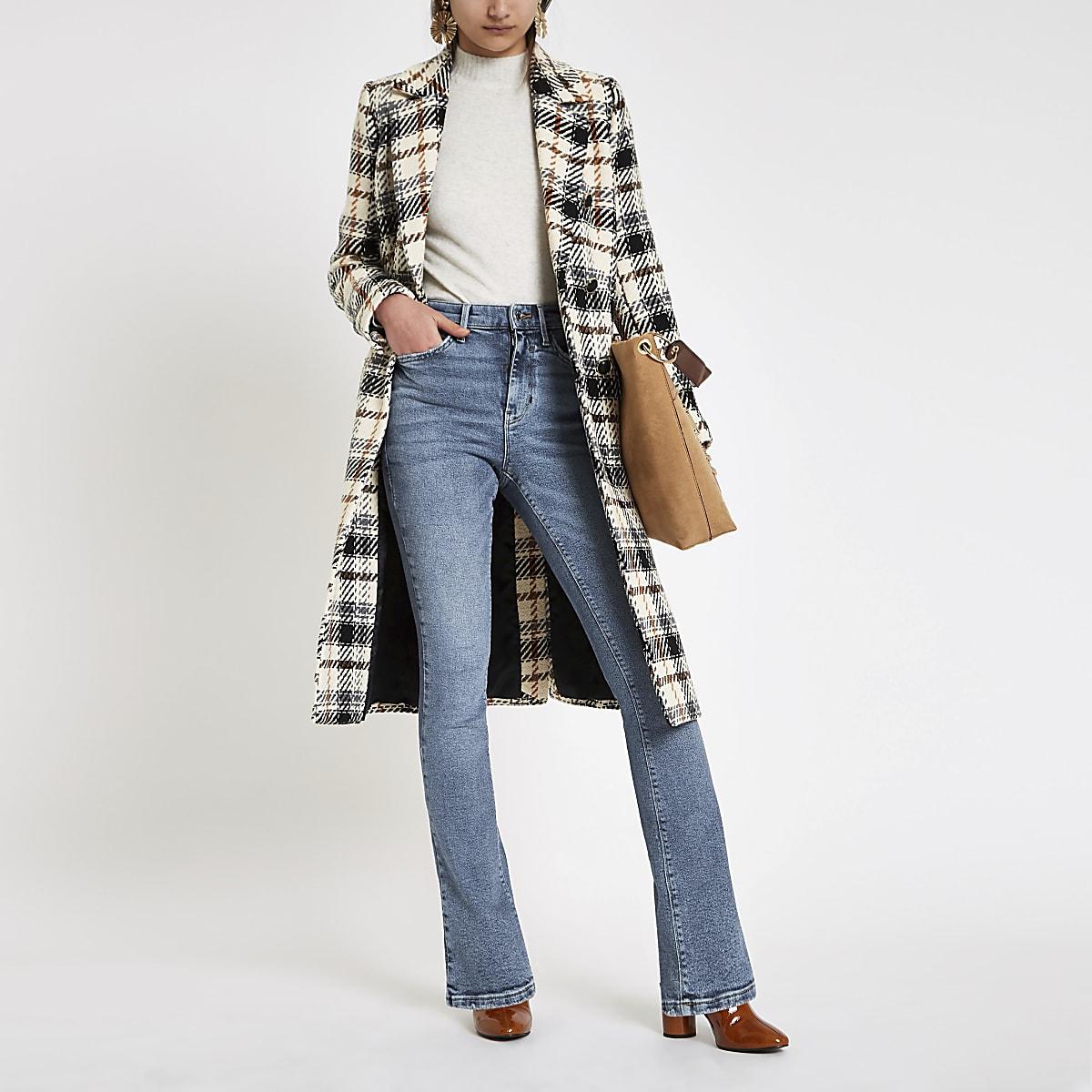 Blauwe wijduitlopende jeans met bootcut en hoge taille