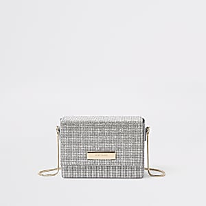 Silver rhinestone chain mini cross body bag