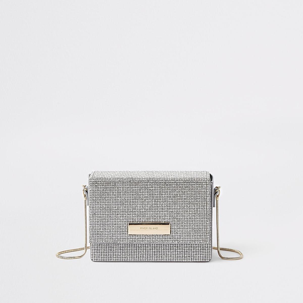 Zilveren mini-crossbodytas met diamantjes en ketting