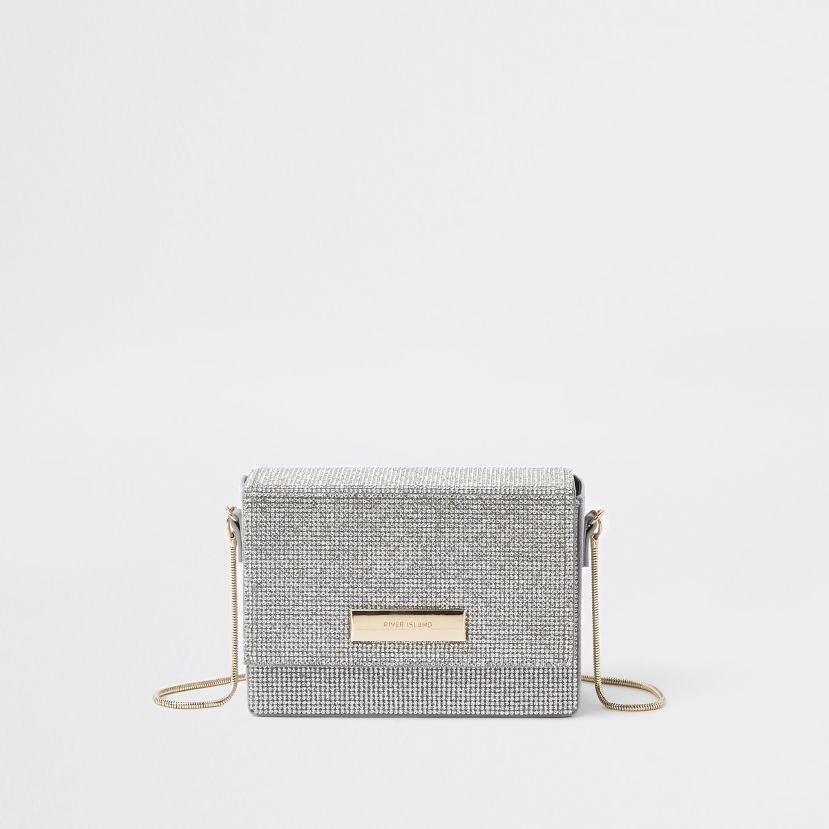 Silver diamante chain mini cross body bag