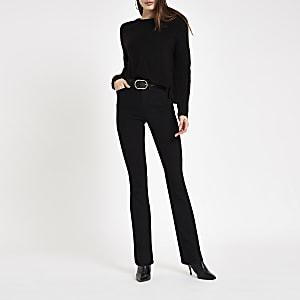 Zwarte wijduitlopende jeans met bootcut en hoge taille