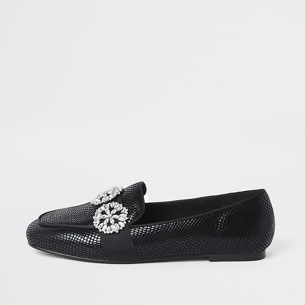 Black croc jewel trim loafers