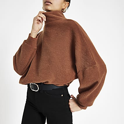 Dark orange high neck jumper
