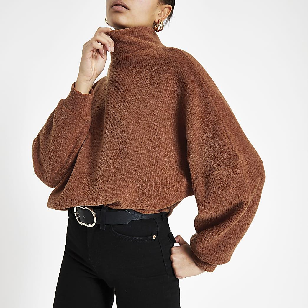 Dark orange high neck jumper