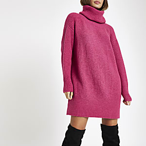 Pink knit roll neck jumper dress