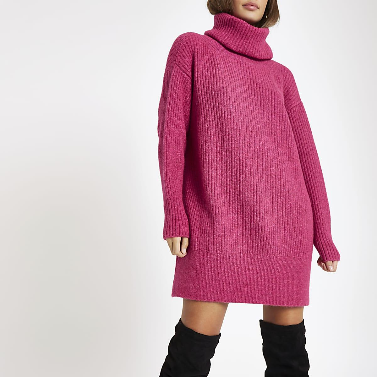Roze Gebreide Trui.Roze Gebreide Trui Jurk Met Col Pullovers Knitwear Dames