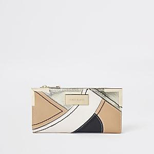 Beige metallic smalle uitvouwbare portemonnee met uitsnede