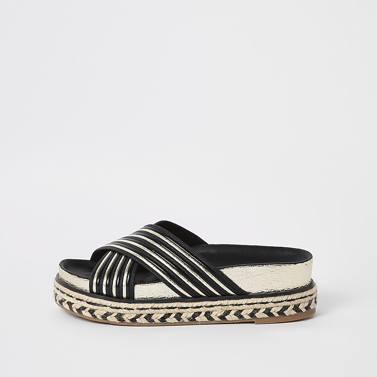 Black cross strap mule sandals