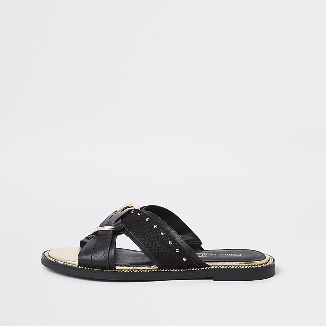Black cross studded sandals