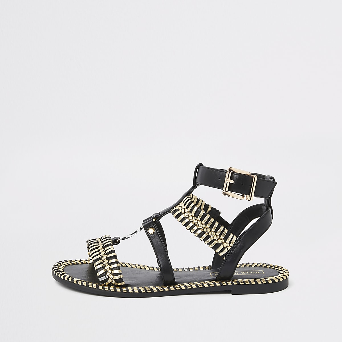 Zwarte geweven platte sandalen