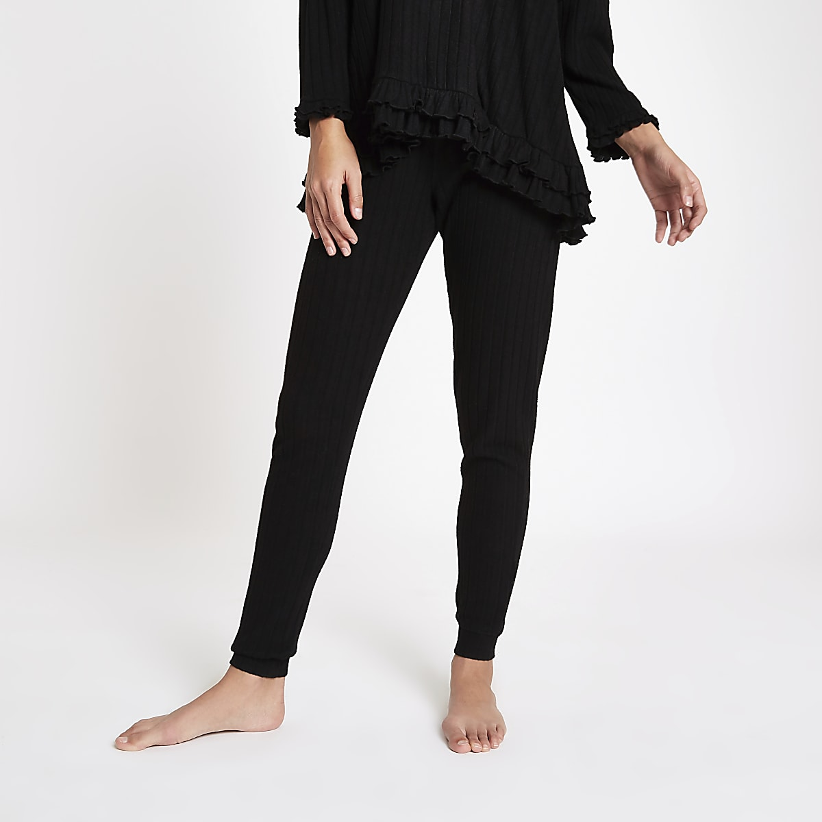 Black ribbed loose fit joggers