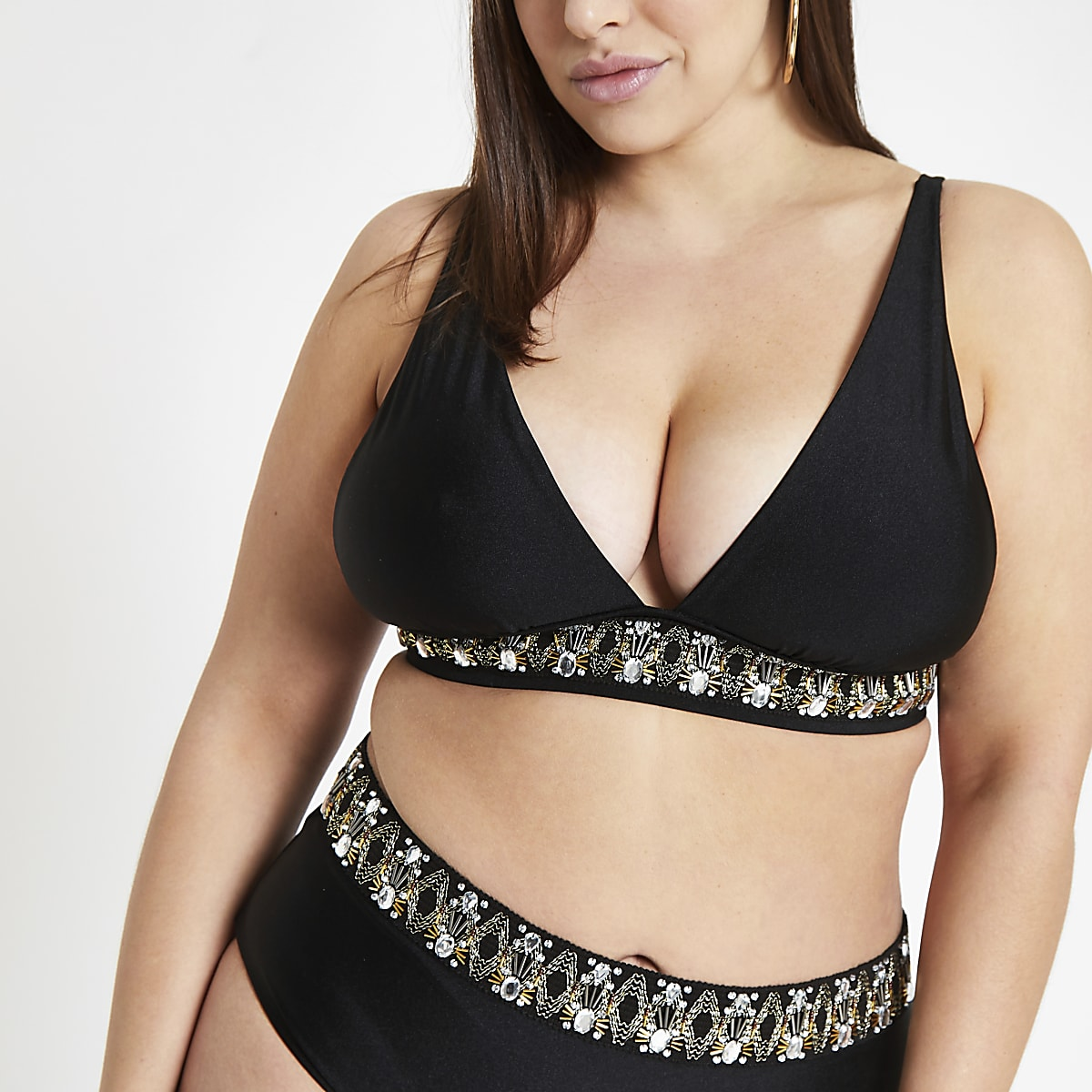 Plus black embellished triangle bikini top