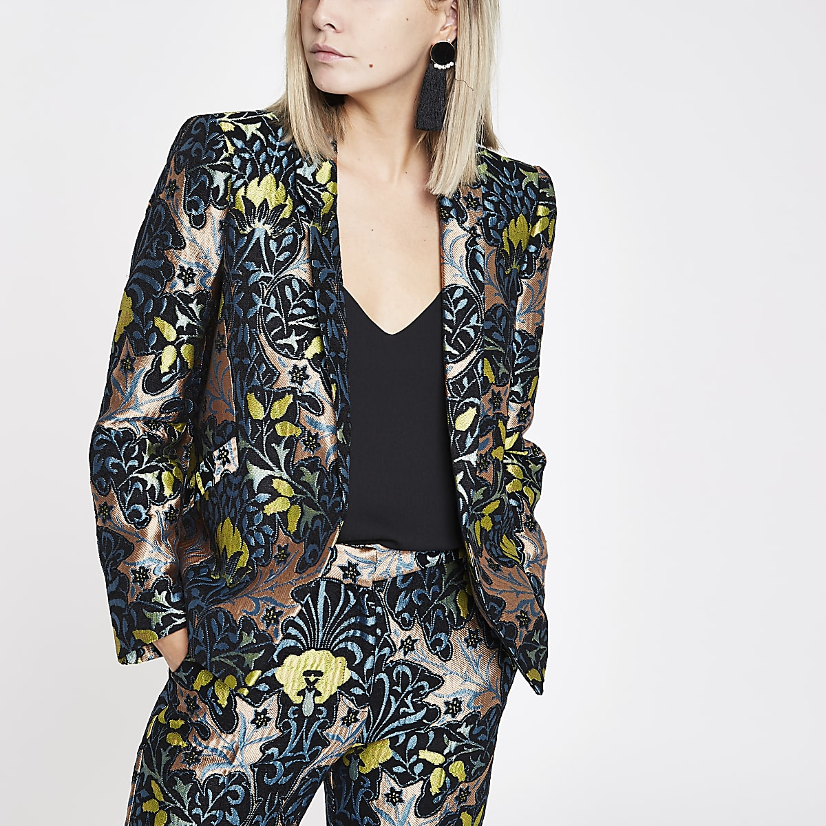 Petite blue jacquard blazer