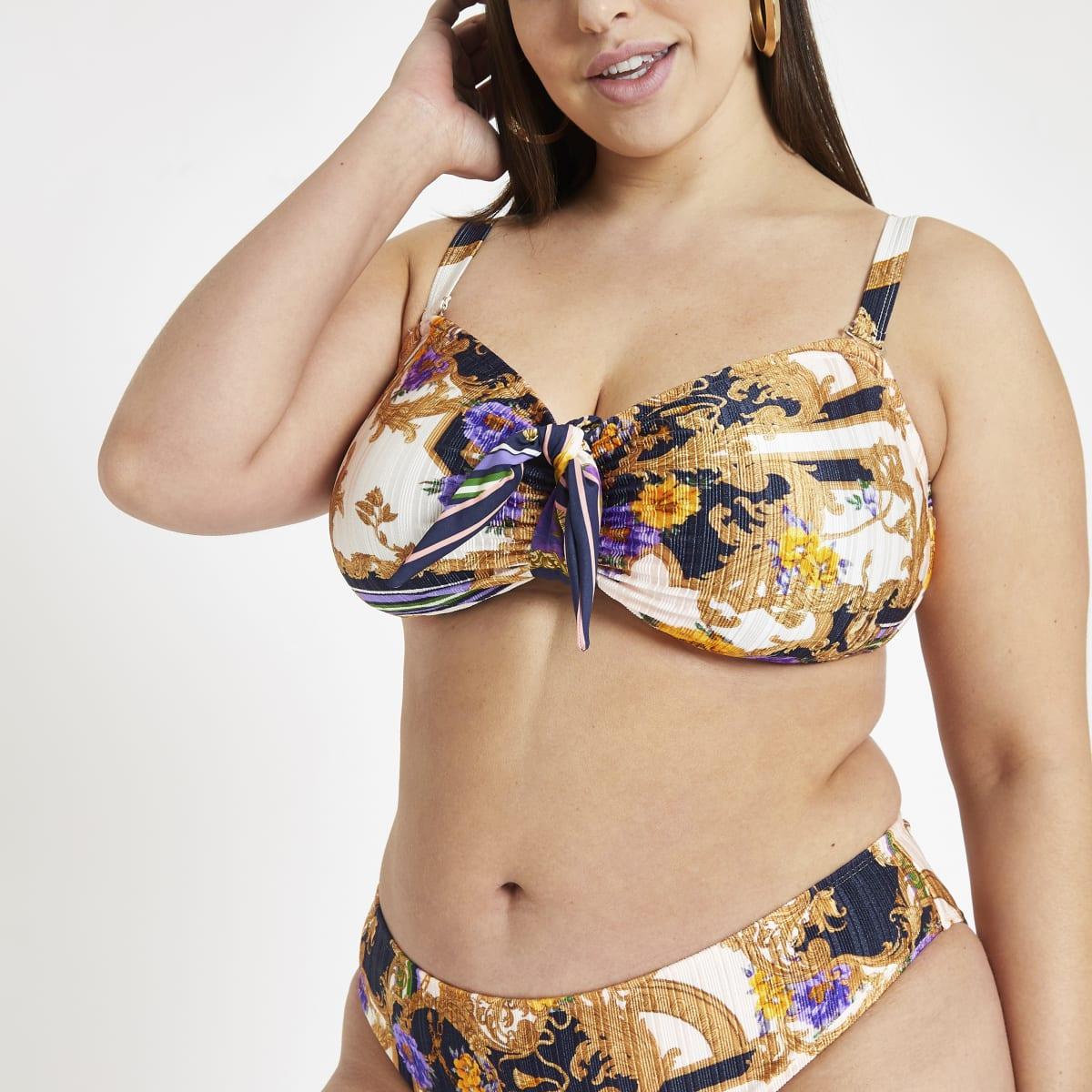 Plus navy scarf print tie front bikini top