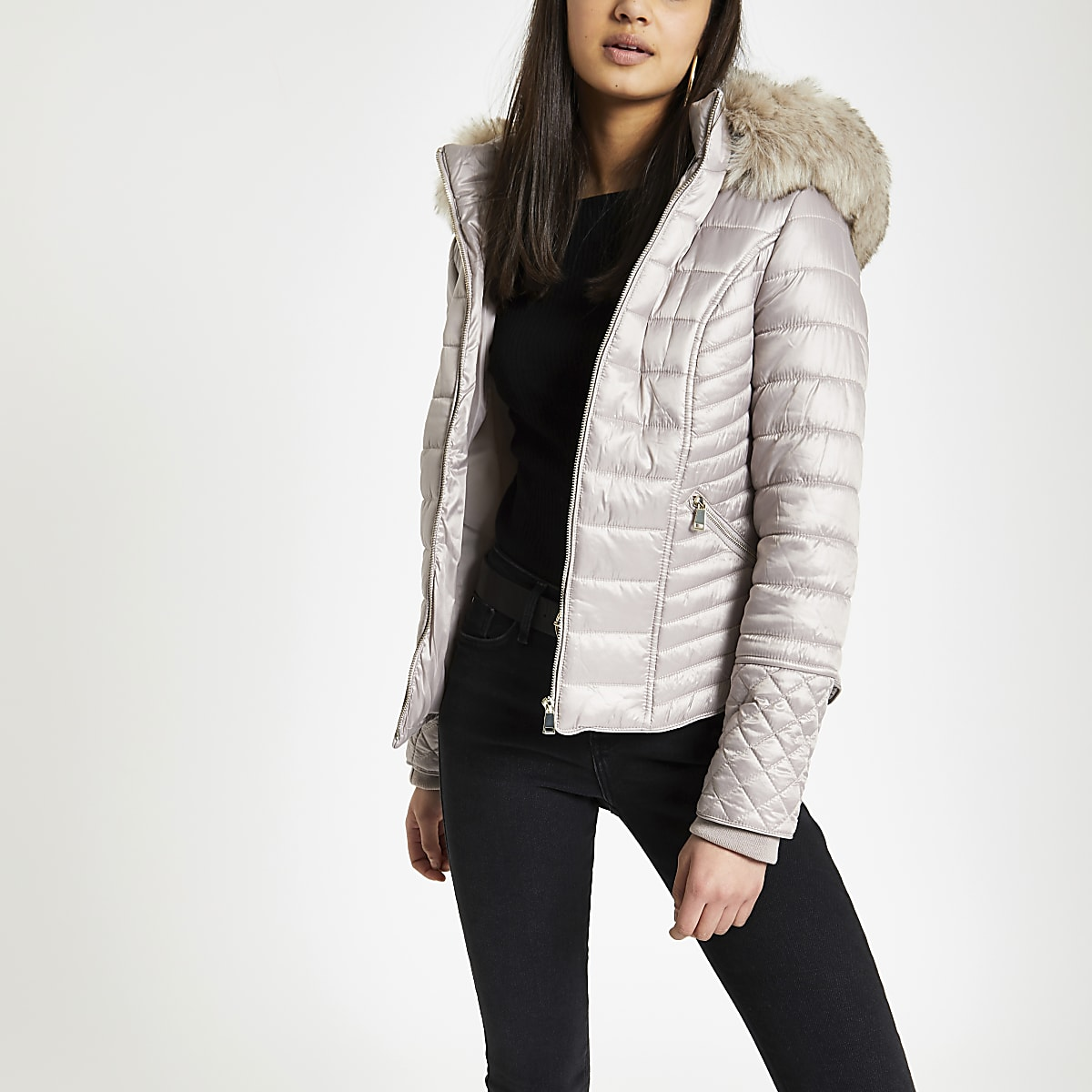 Beige faux fur hood padded jacket
