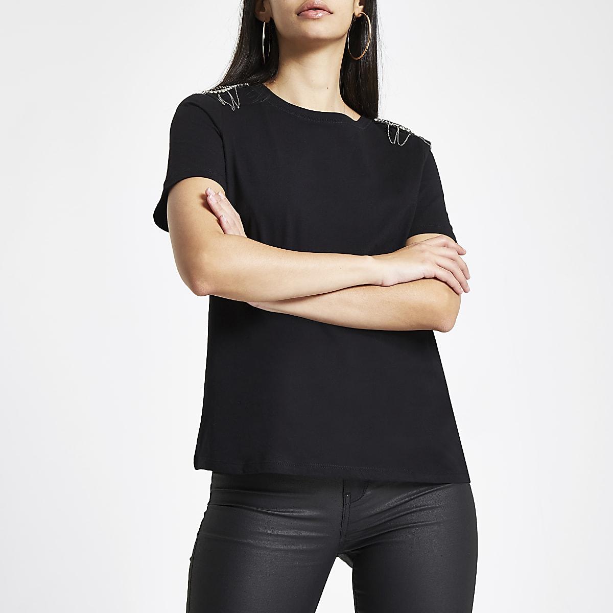 T-shirt noir avec épaules ornées de strass