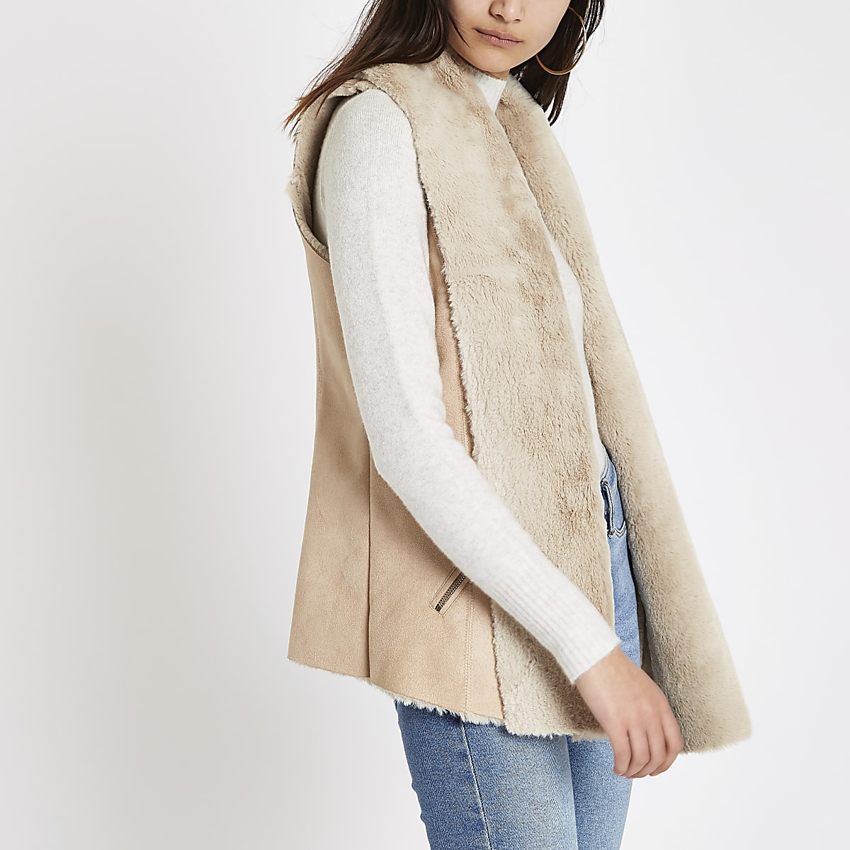 Light brown faux suede gilet