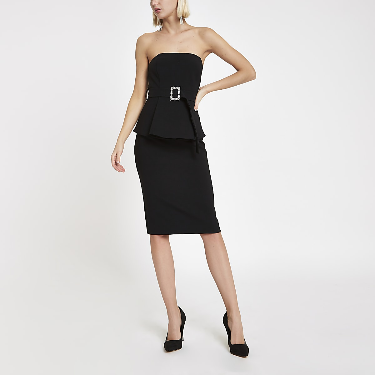 Black bandeau rhinestone buckle mini dress