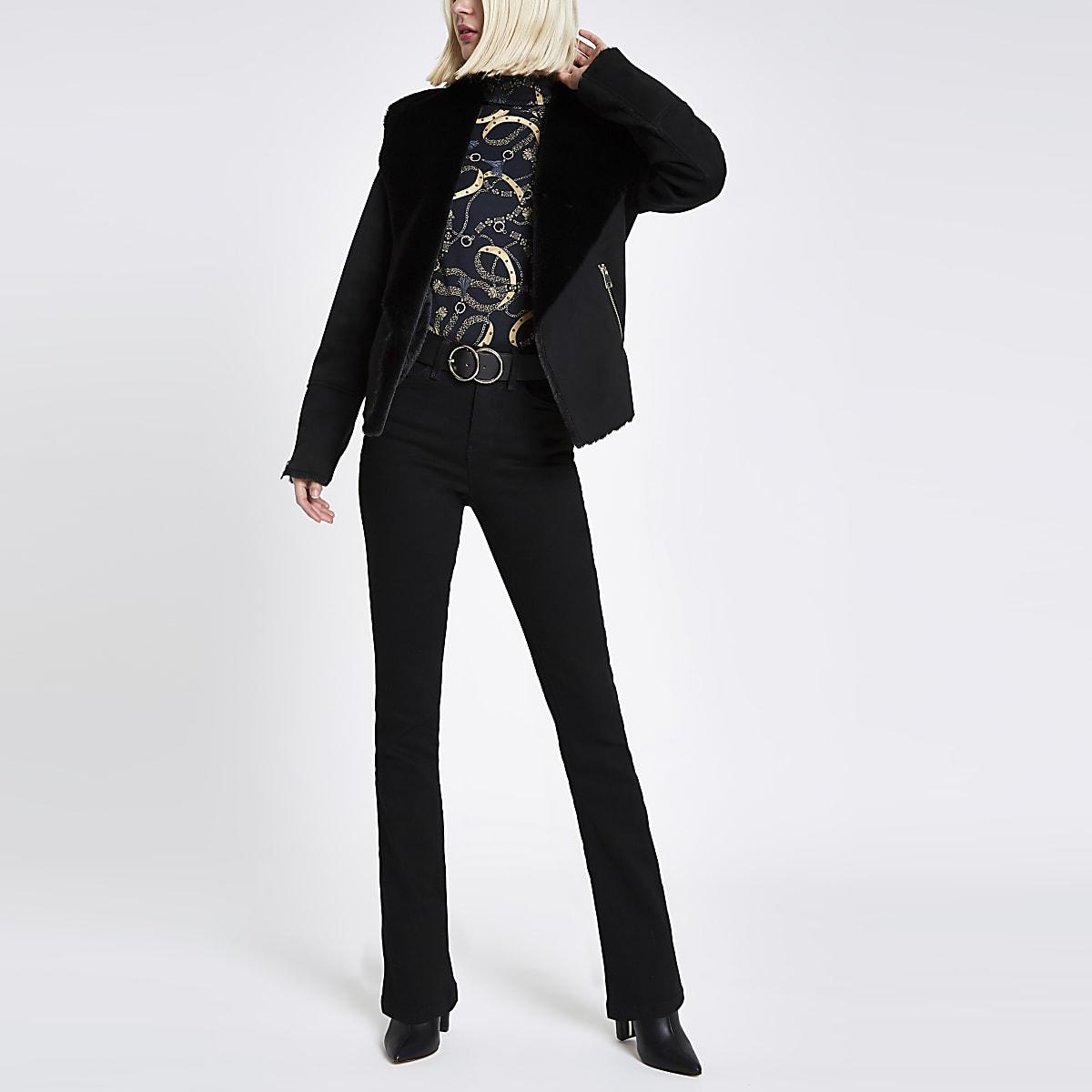 Black fallaway faux suede jacket