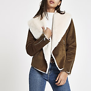 Brown fallaway faux suede jacket