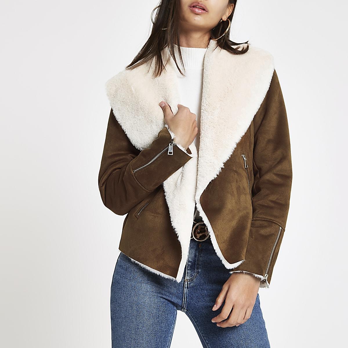 Brown fallaway faux suede jacket