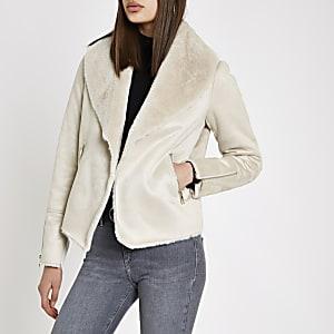 Cream fallaway faux suede jacket