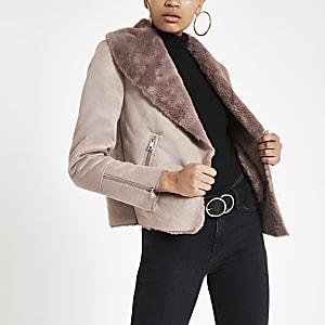 Pink fallaway faux suede jacket