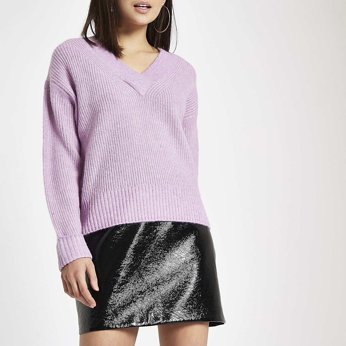 Light purple Luxe ribbed knit V neck jumper