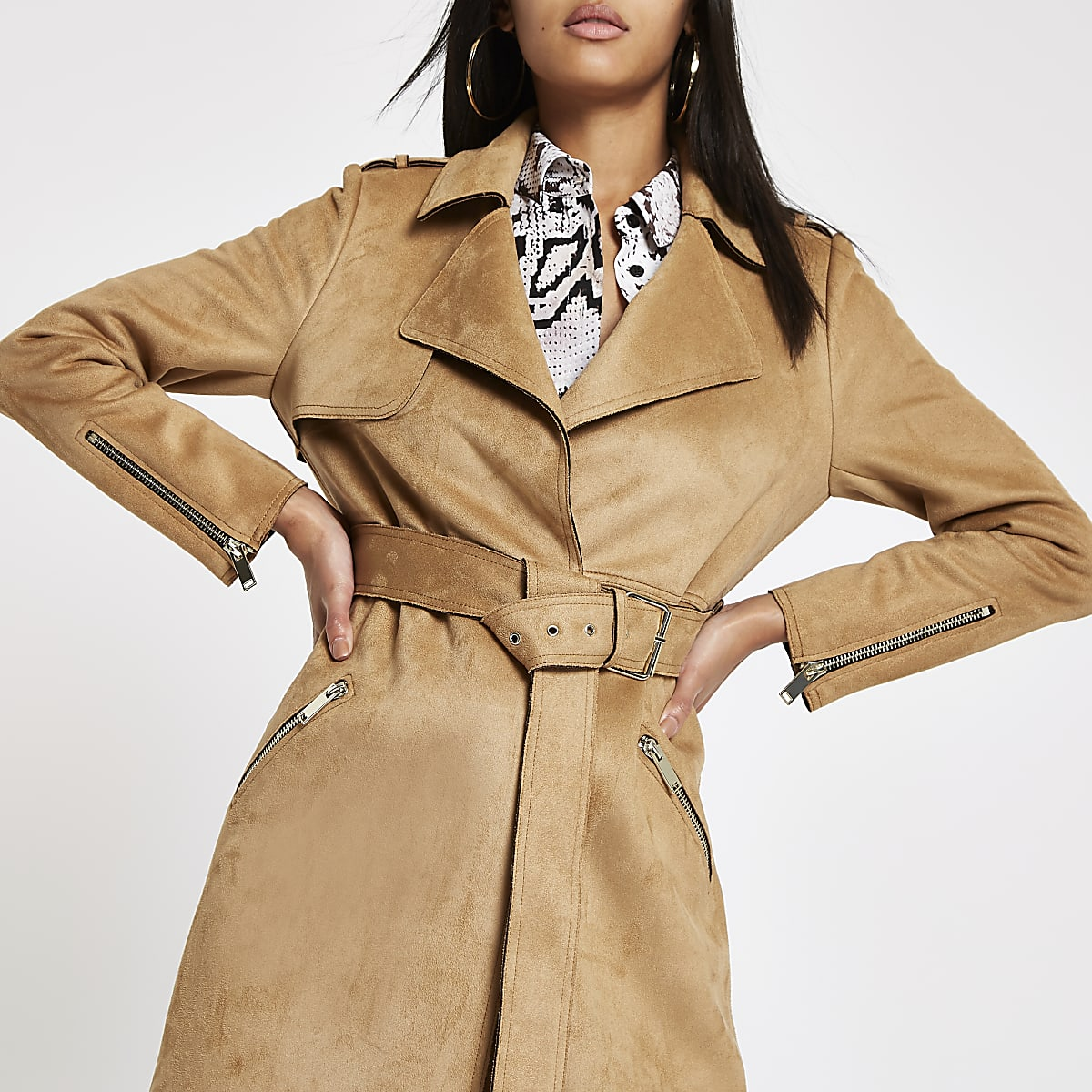 Beige faux suede belted trench coat