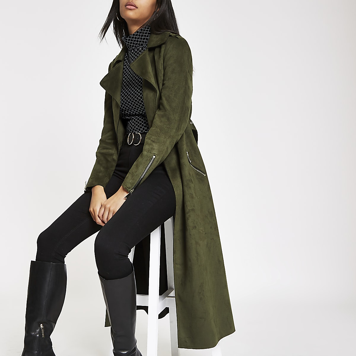 Khaki faux suede belted trench coat