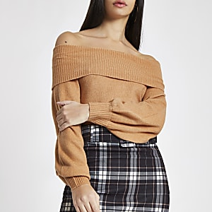 Light brown knit bardot sweater