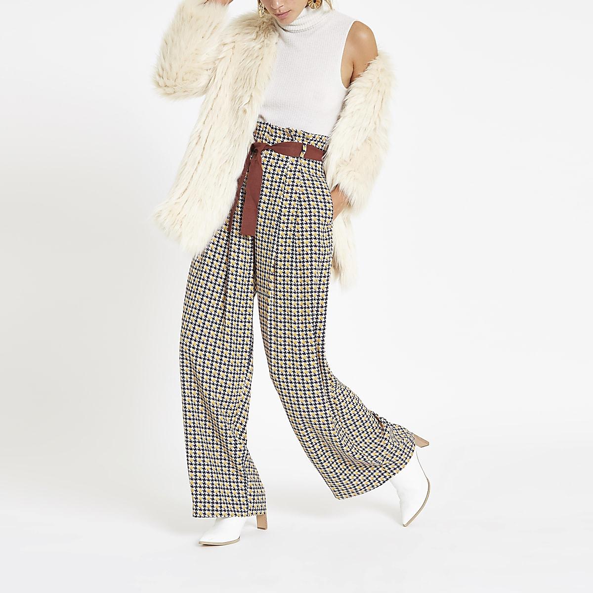 Brown printed wide leg belted pants