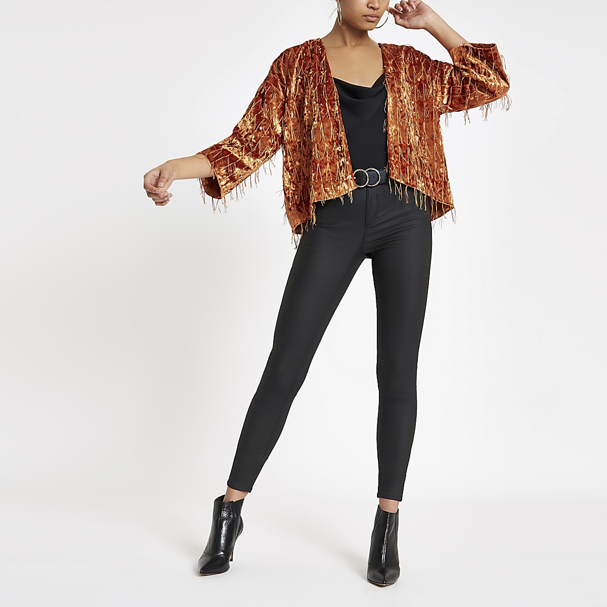 Orange fringe trophy jacket