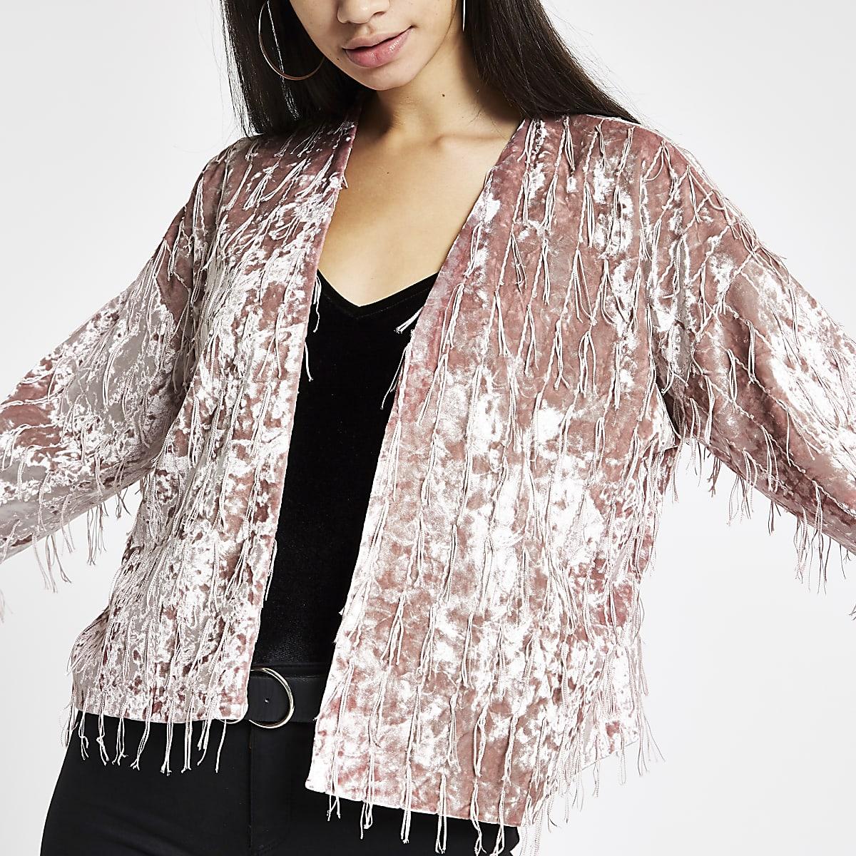 Light pink fringe trophy jacket