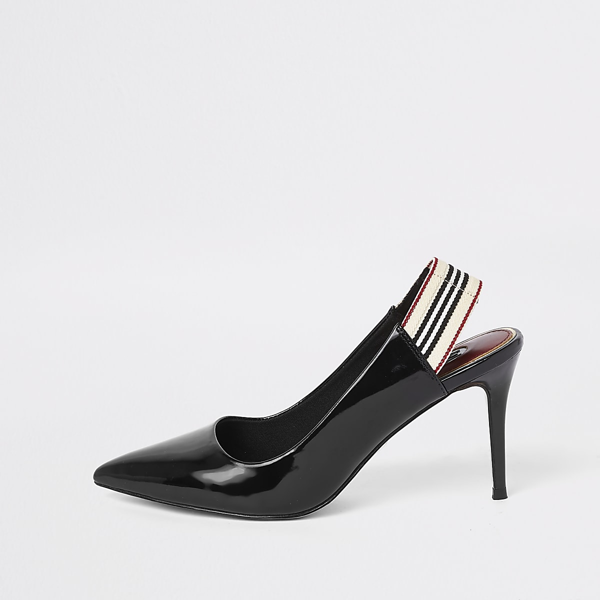 Black pointed elastic court shoes