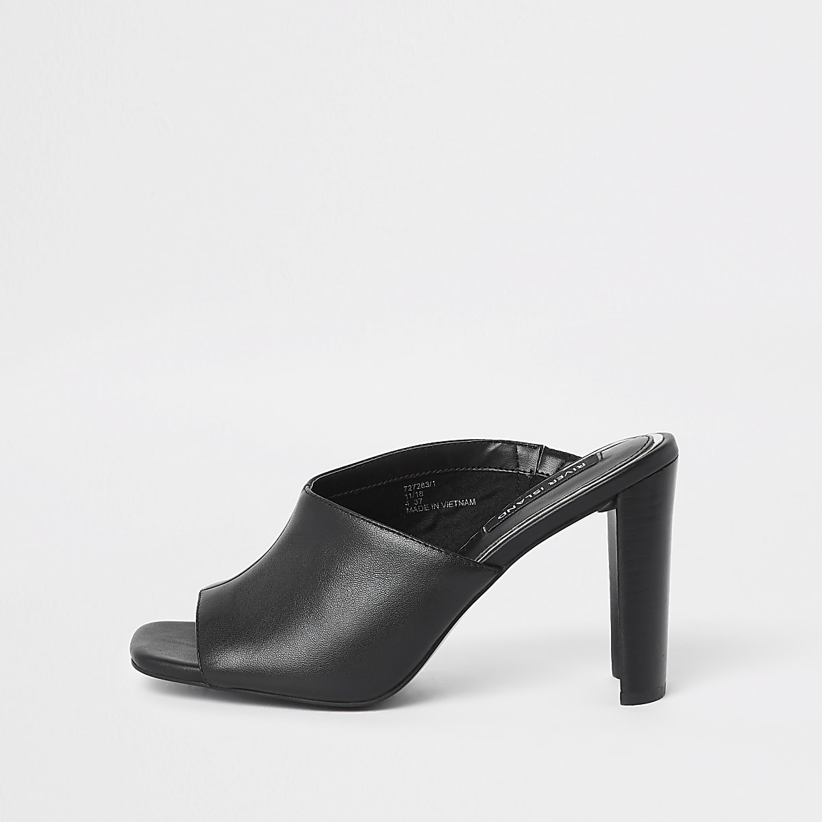 Black leather asymmetric block heel sandal