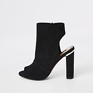 Black suede side zip shoe boot