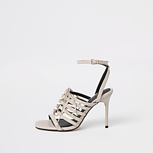 Light pink strappy lace up heel sandals