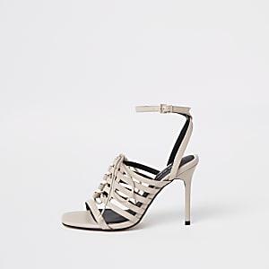 Sandales rose clair lacées à talons et brides